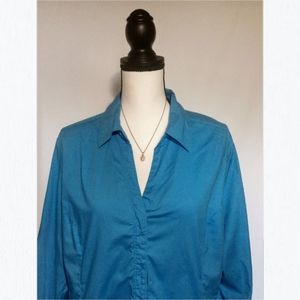 Blue 3/4 Button Sleeve Instantly Slimming